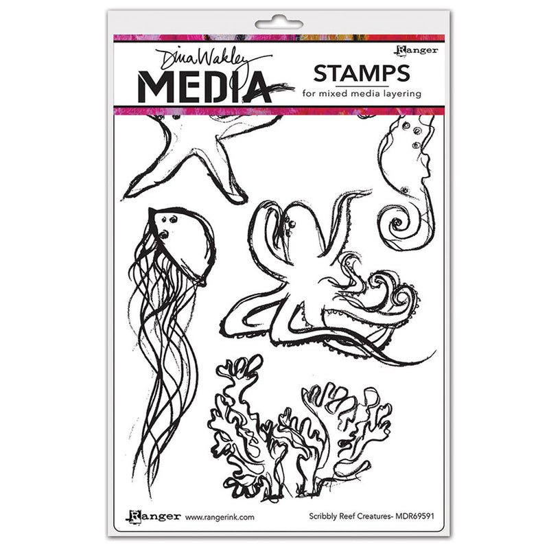 Dina Wakley Media Stamp Set - Scribbly Reef Creatures