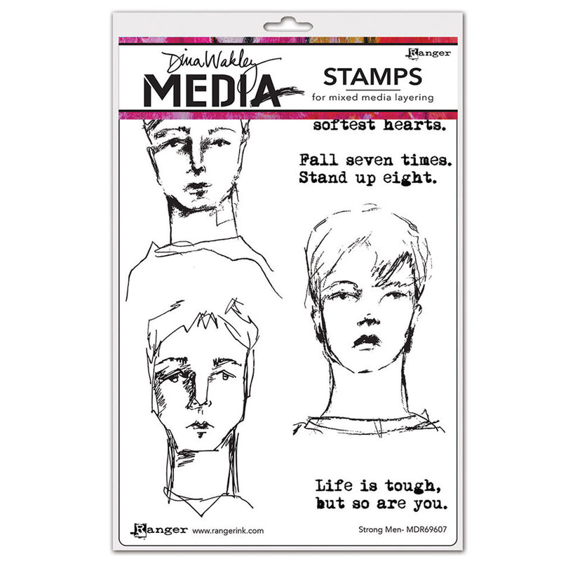 Dina Wakley Media Stamp Set - Strong Men
