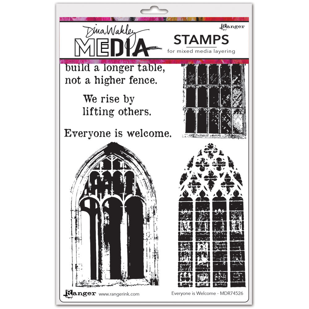 Dina Wakley Media Stamp Set - Everyone is Welcome
