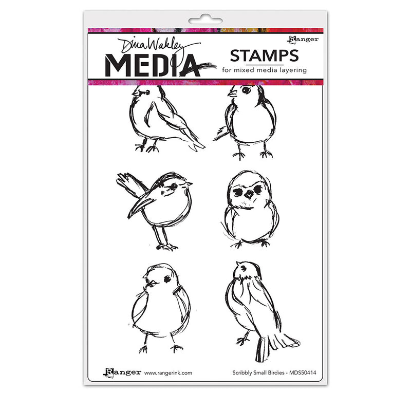 Dina Wakley Media Stamps - Scribbly Small Birdies - MDR50414