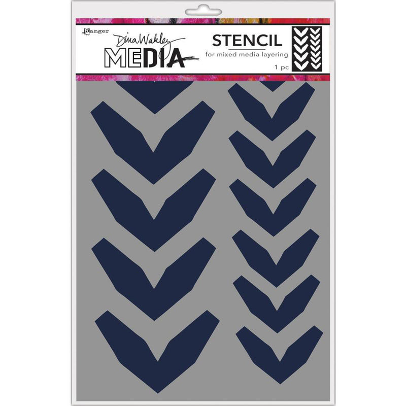 Dina Wakley Media Large Fractured Chevrons Stencil