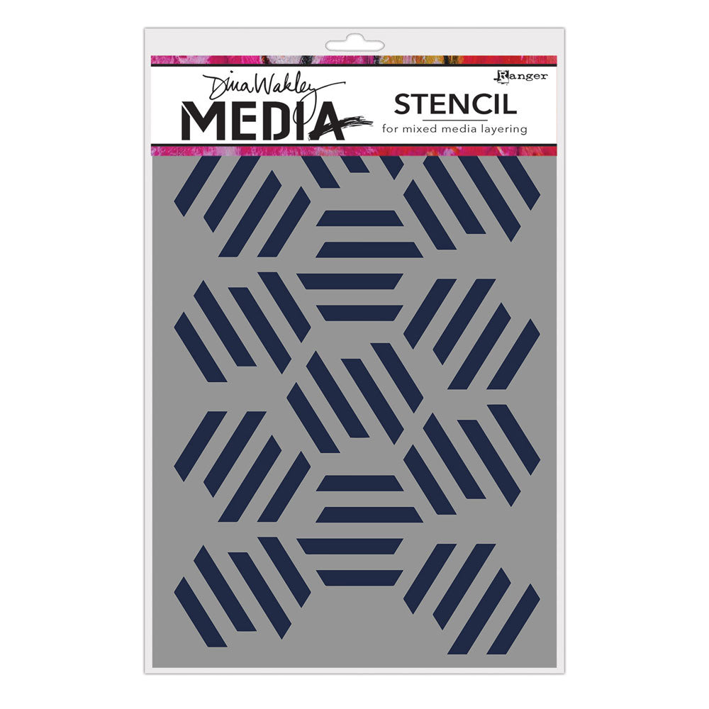 Dina Wakley Media Fractured Hexagons Stencil