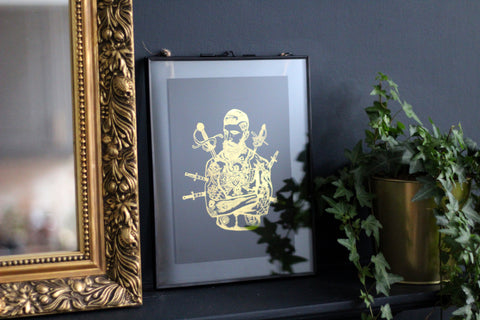 Tattooed Gent A5 Print - Gold Foil/Matt Black - Gentlemen's Chuckaboo