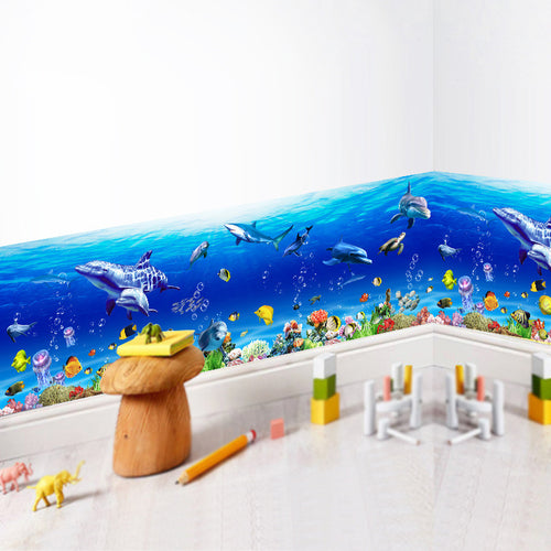 Underwater World Wall Stickers Fish Shark Dolphin Marine Wall Art Decals Kindergarten Nursery Kitchen Bathroom Decoration