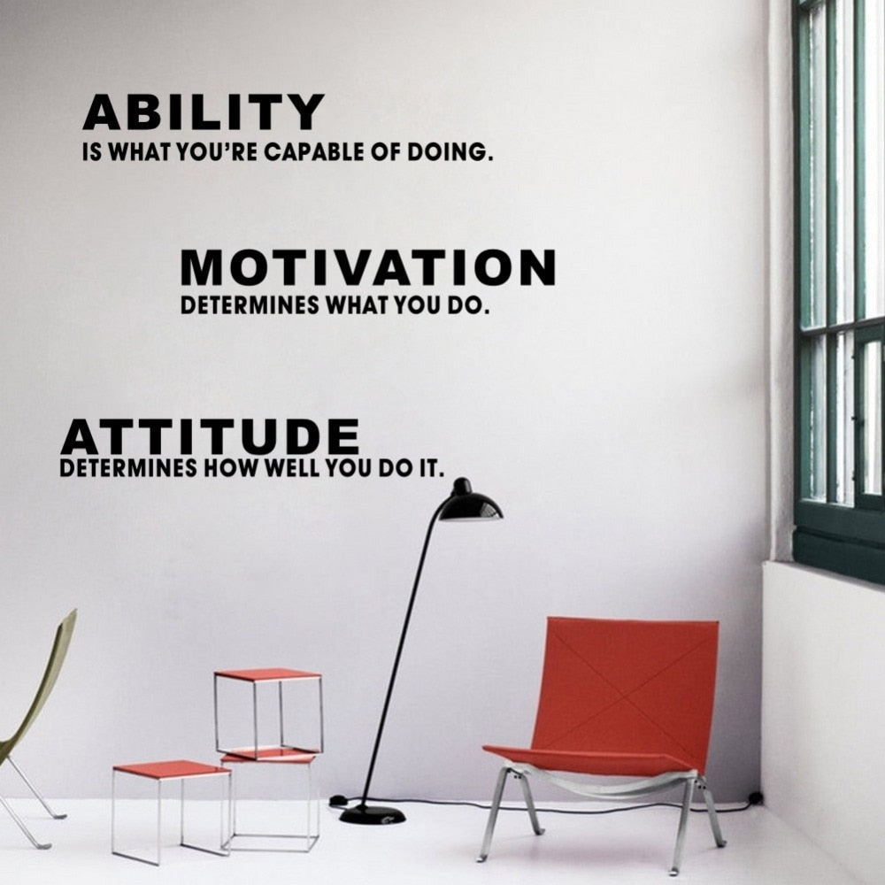 Inspirational Quote Ability Motivation Attitude DIY Wall Sticker