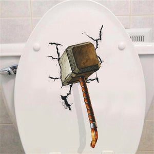 3D Vivid Thor Hammer Broken Wall Stickers For Kids Rooms Window Toilet Home Decor Pvc Avengers Wall Decals Art Diy Mural Posters