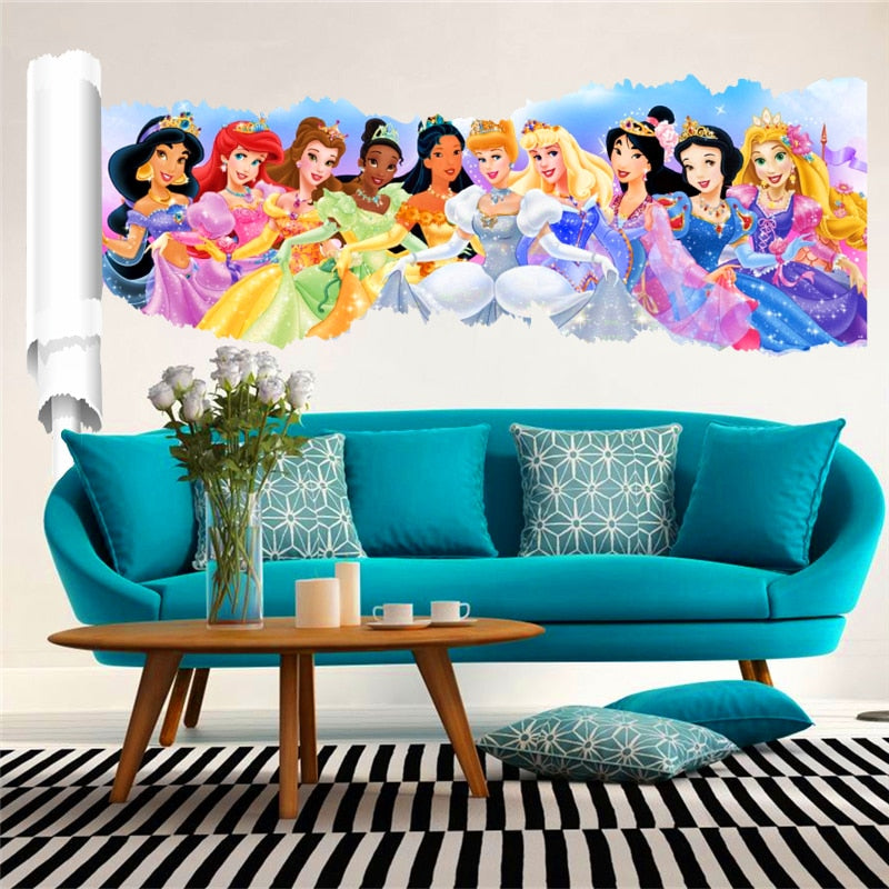 3D Princess Wall Stickers Kids Rooms Decor Cartoon