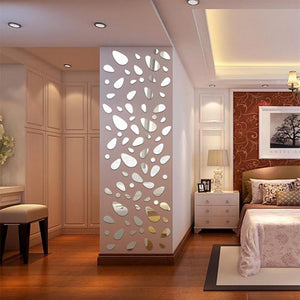 Fashion 12Pcs/lot Hot 3D Mirror Wall Sticker Home Diy Accessories Living Room Bathroom Vinyl Art Decals Wholesale