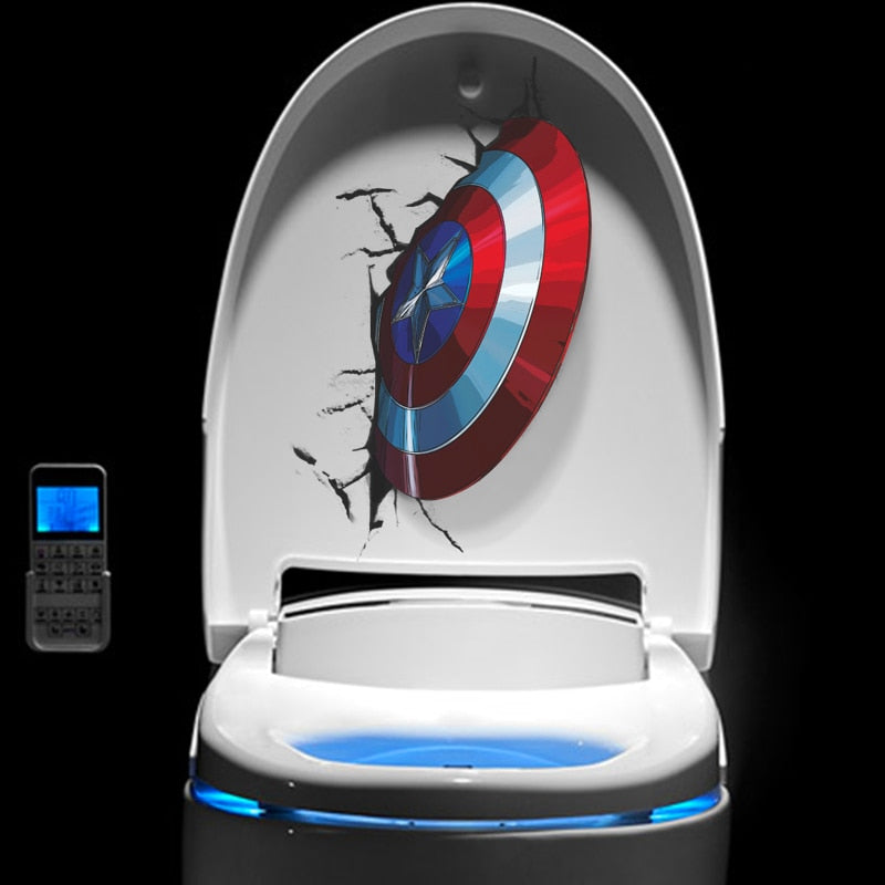 3D Captain America's Shield Through Wall Stickers Kids Rooms Toilet Sit