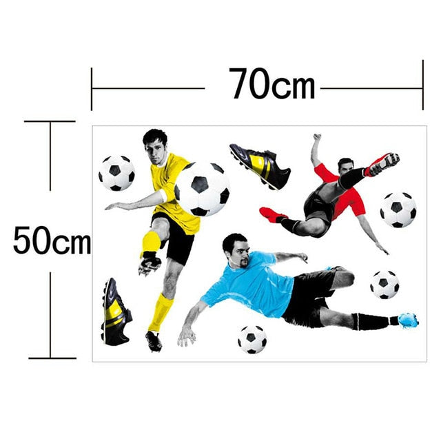 1Pc Creative Football 3D Wall Stickers Basketball Broken Wall Art Decal Car Wall Poster Kids Room Decoration Boys Favors