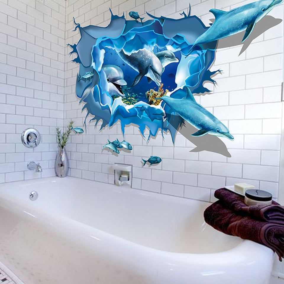 3D Dolphin Sea Ocean Stickers Wall Decal Mural DIY Decor Kid Room
