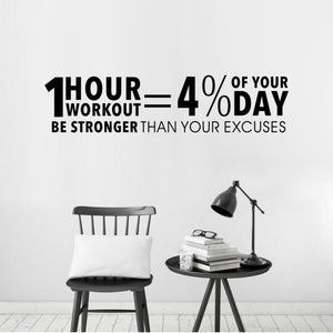 Workout Inspiring Quote Gym Vinyl Wall Decal Fitness Motivation