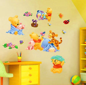 Baby Bear Cartoon Diy Wall Stickers For Kids Children Room Decaor 3D Window Bear Winnie Pooh Nursery Wall Decals