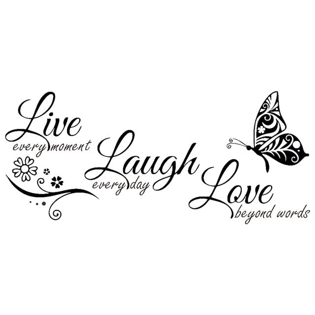 Live Laugh Love Butterfly Flower Wall Art Sticker Quote