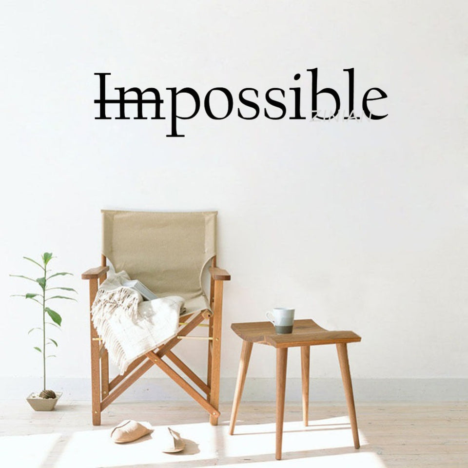 Motivation Quote Words Impossible Wall Decal Bedroom Possible Inspiring