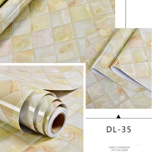 Self Adhesive Marble Vinyl Wallpaper Roll Furniture Decorative Film Waterproof Wall Stickers For Kitchen Backsplash Home Decor