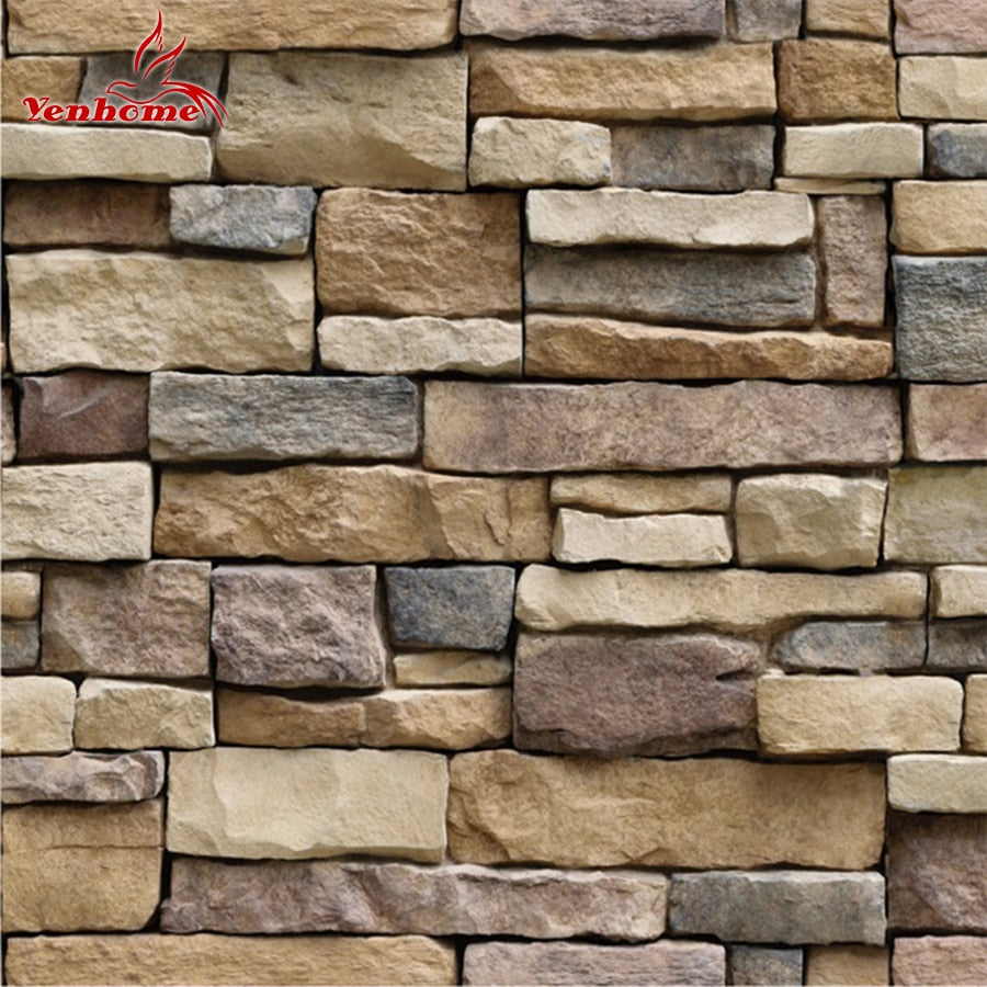 Waterproof Stone Brick Wall Sticker Self adhesive Wallpaper Home