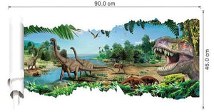 3D Dinosaurs Wall Stickers Jurassic Period Animals Print