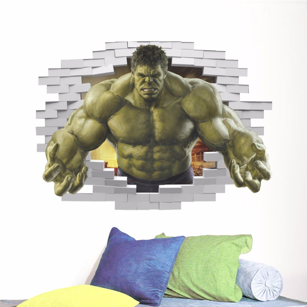 3D HULK Wall Sticker Superheroes Comic Avengers The Incredible