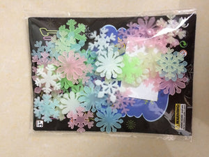 50Pcs/set Colorful Luminous Home Snowflake Wall Sticker