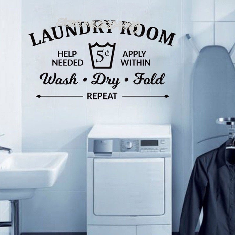 Laundry Room Rules Wall Sticker Wash Wall Decal balcony Bathroom Quote