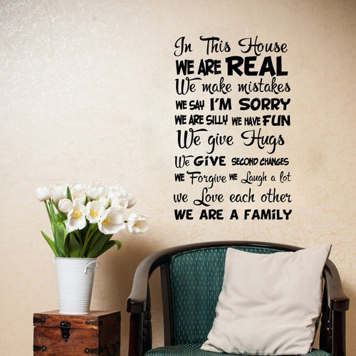 Family Quote In This House We Are Real Wall Decals Decoration