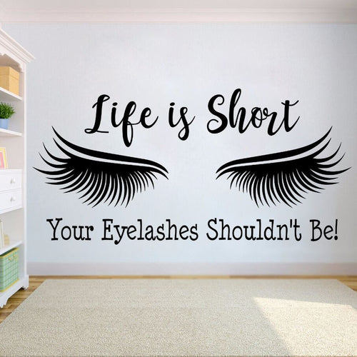 Eyelashes Quote Decal Beauty Salon Eye Make Up Window Stickers
