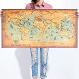 Vintage World Map Wall Sticker Retro Poster Living Room Art Crafts World Maps Bar Cafe Pub Painting Large Size 100X50Cm