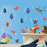 Seabed Fish Bubble Nemo Wall Sticker Cartoon Wall Sticker For Kids Rooms Bathroom Home Decor Nursery Quarto Decals Poster