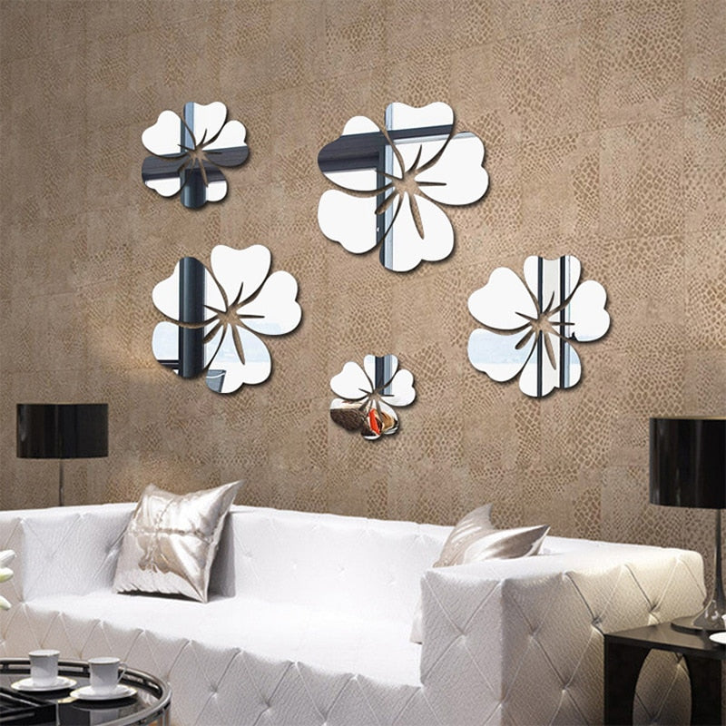 Flower Pattern Wall Sticker Home Decor 3D Wall Decal Art(5 pcs)