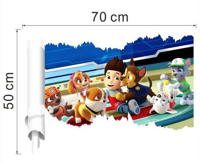 3D Dogs Cartoon Paw Patroll TV Wall Decals Kids Rooms Decoration