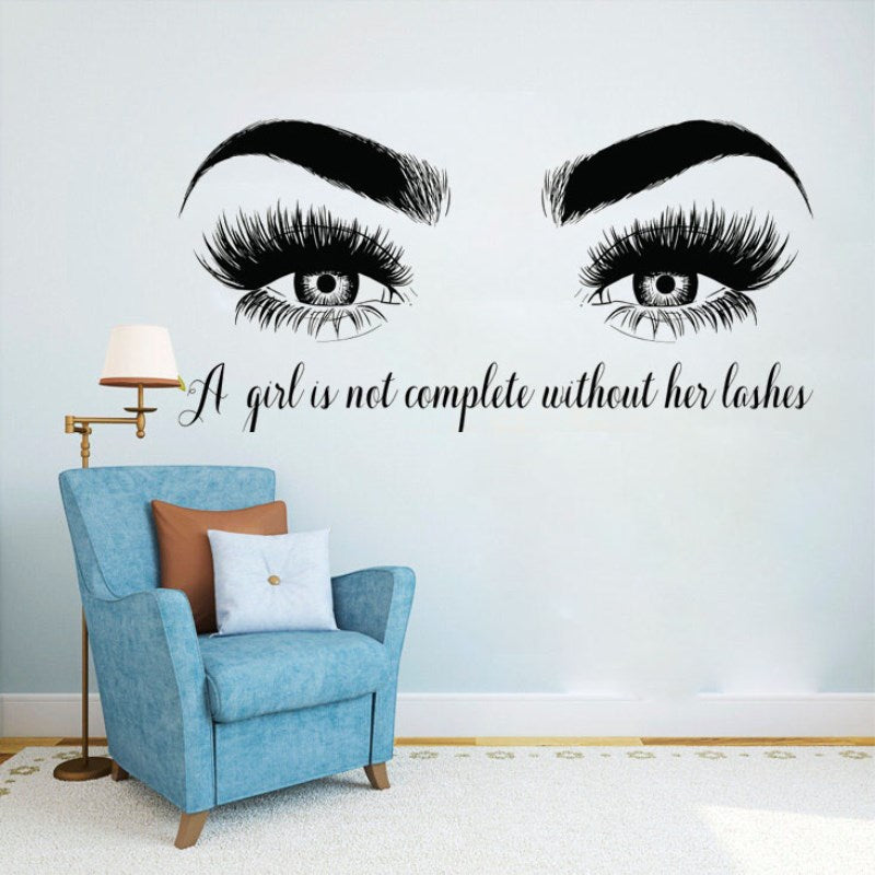 Lashes Eyes Vinyl Wall Sticker Beatuy Salon Quote Bedroom