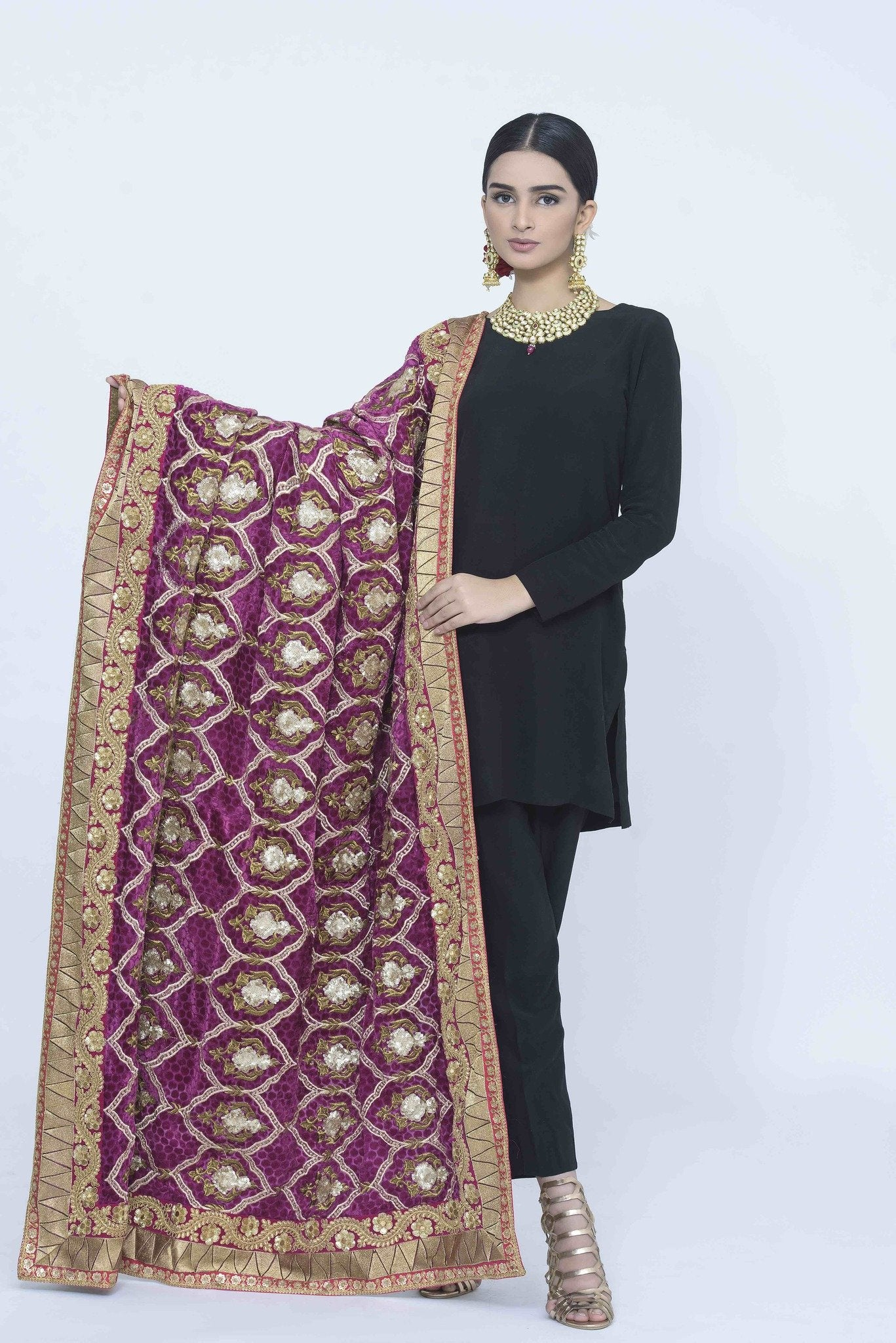 Magenta Embroided Pattern Shawl