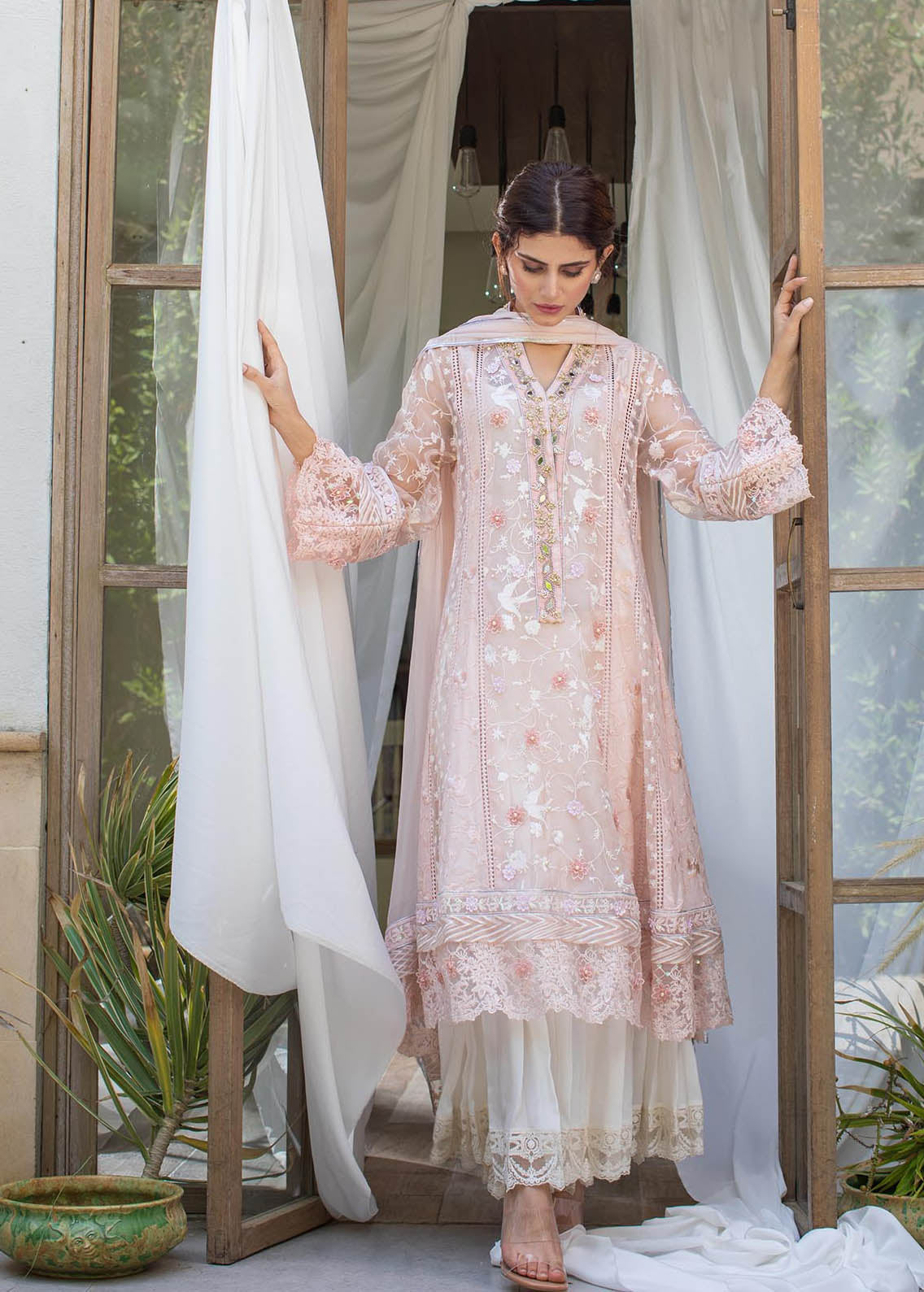 Misty Pink Panelled Embellished Shirt With Dupatta
