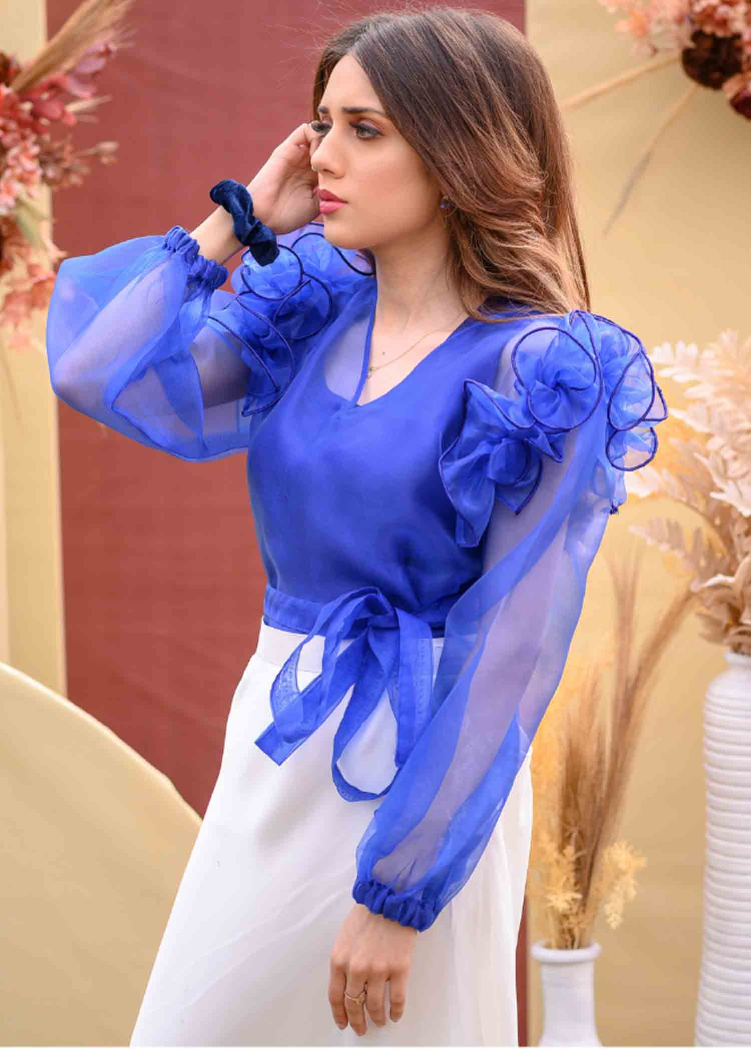 Zinc blue organza top