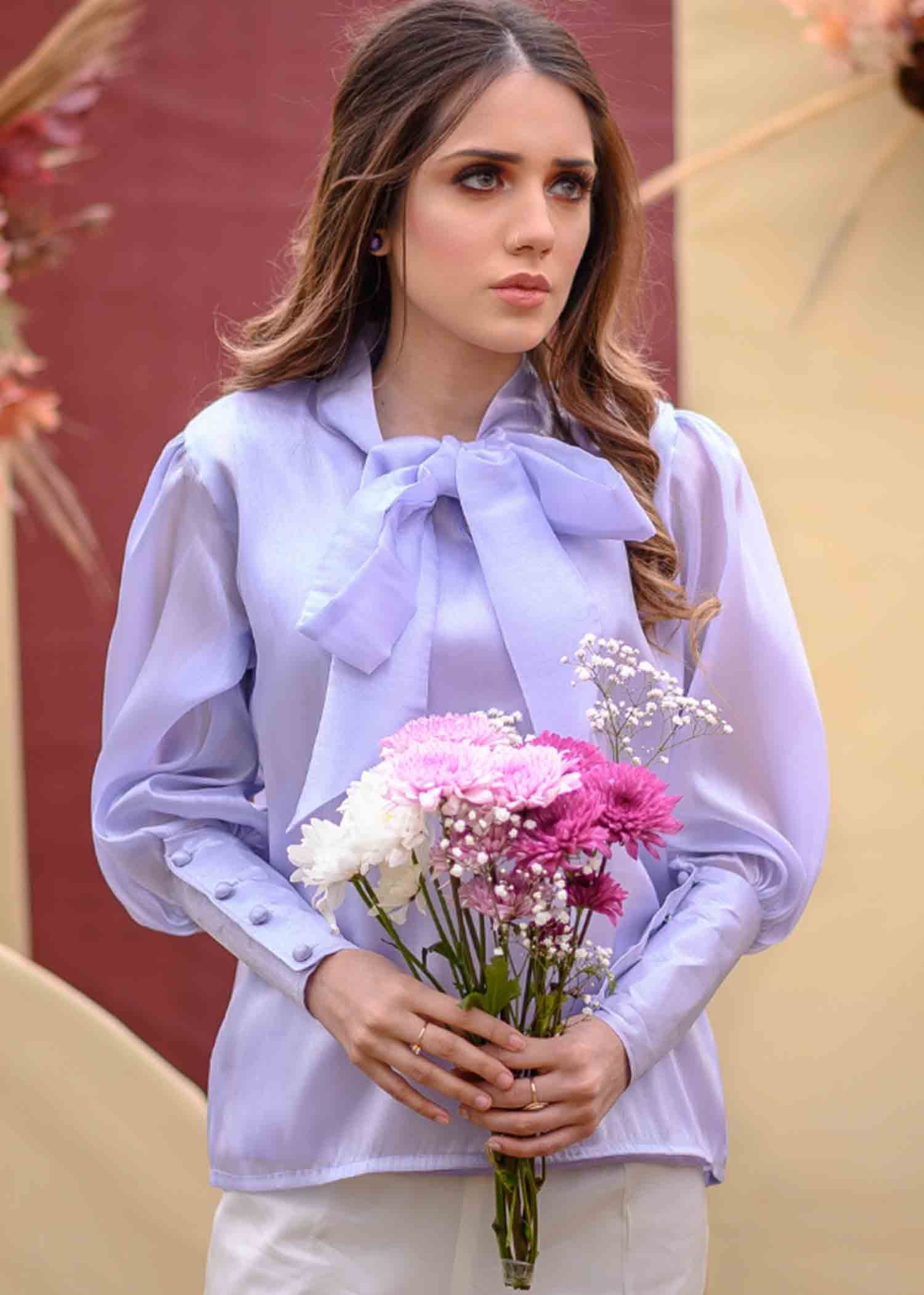 Lilac Organza puff top