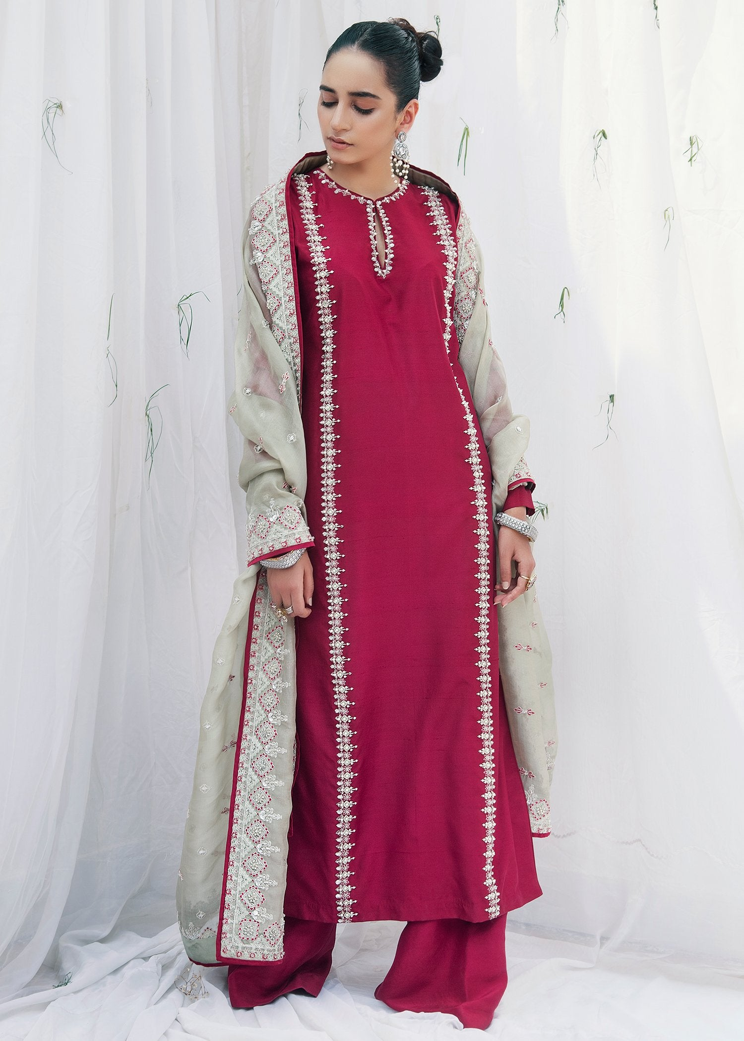 Cherry Wine Pakistani wedding dresses