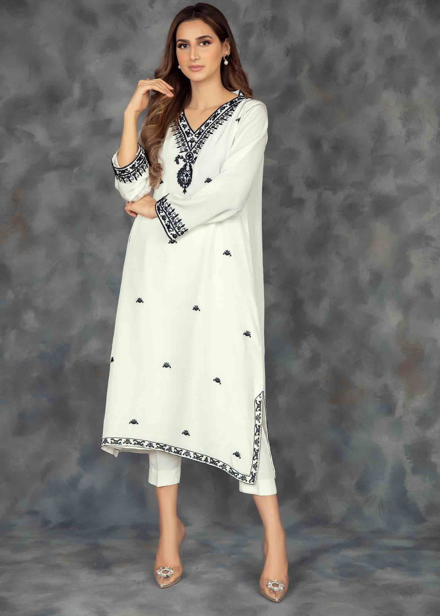 White Silk Aari work Kurta