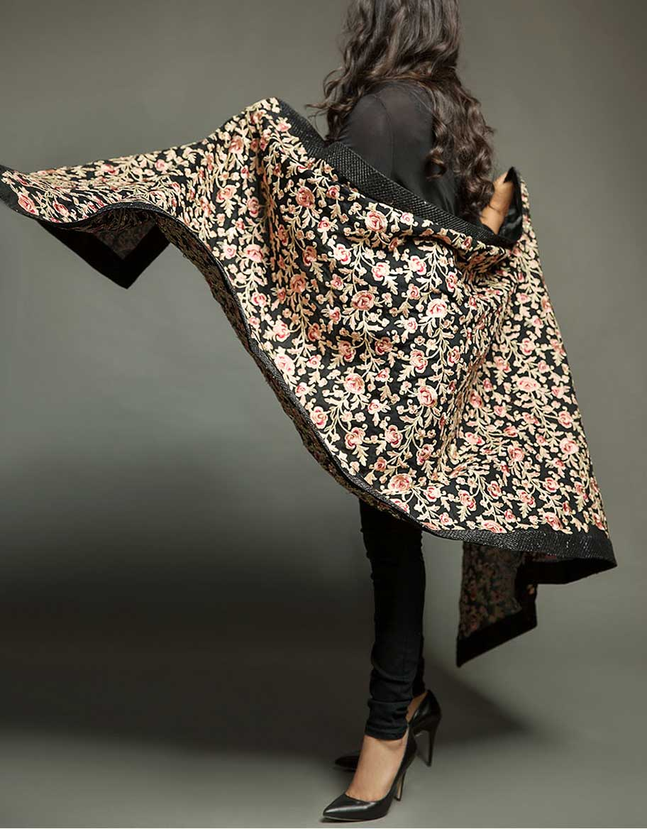 Fully Embroidered Black Fancy Shawl