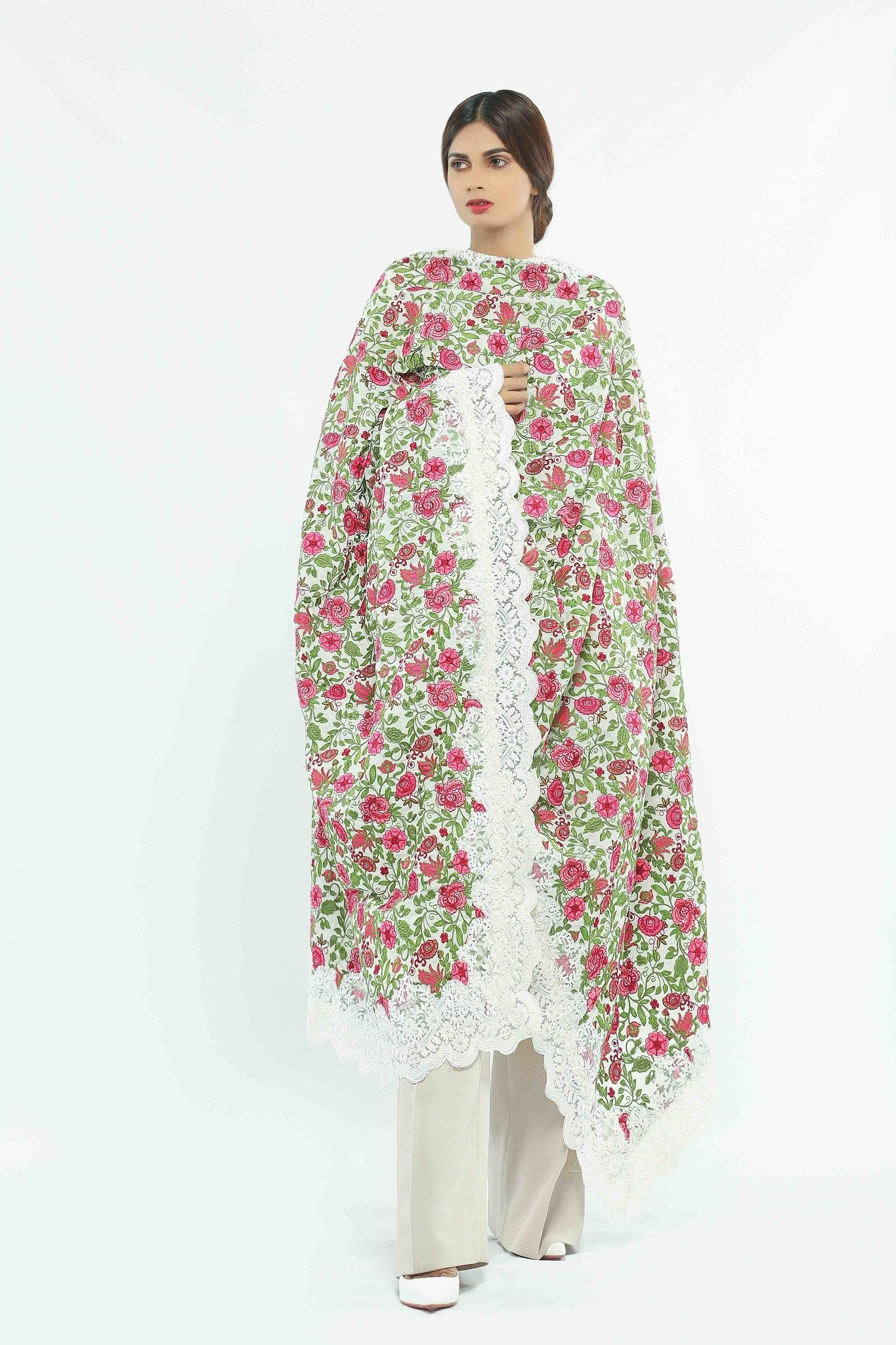 White Silk Shawl with Floral Embroidary
