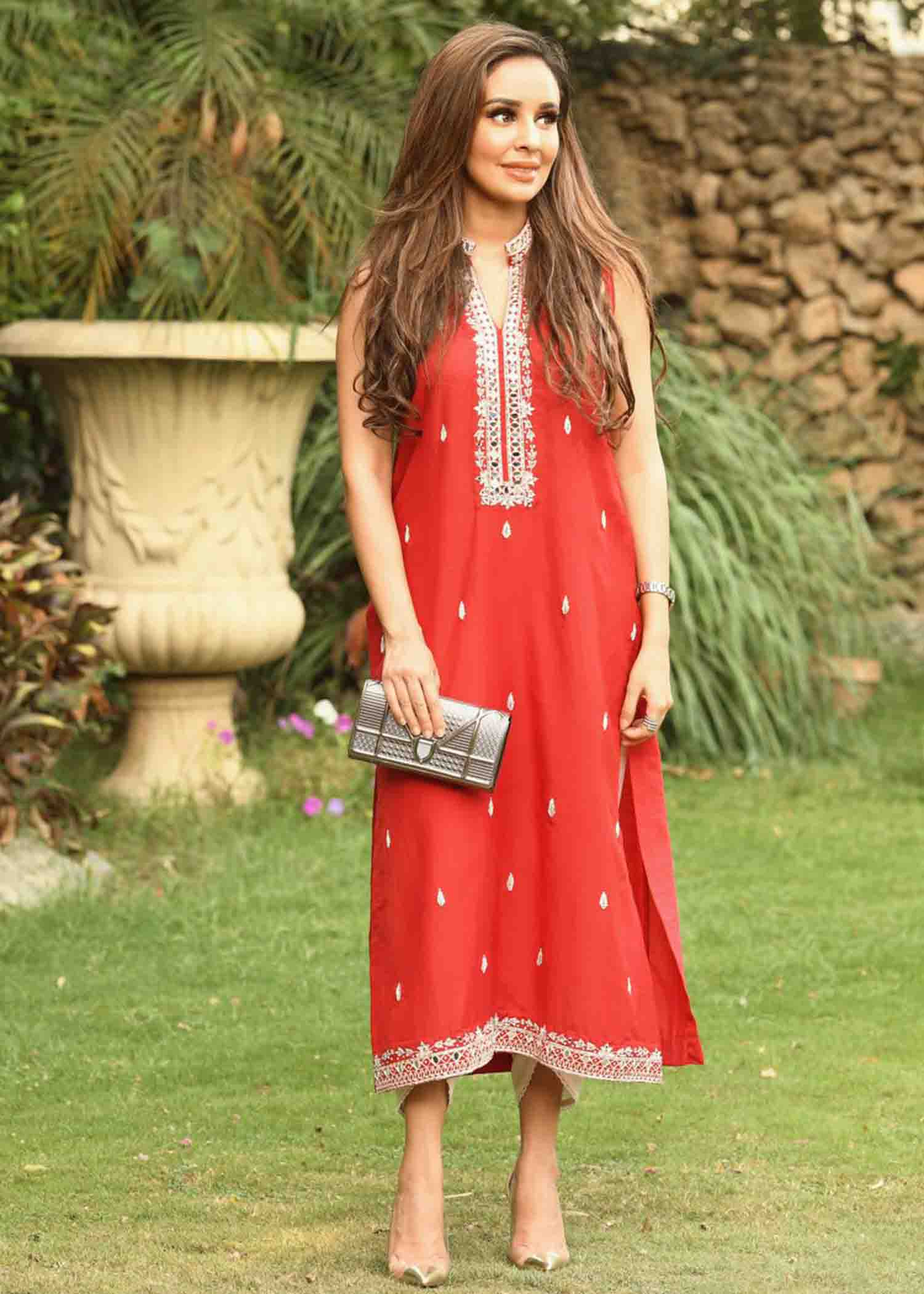 Red mirrorwork long kurta