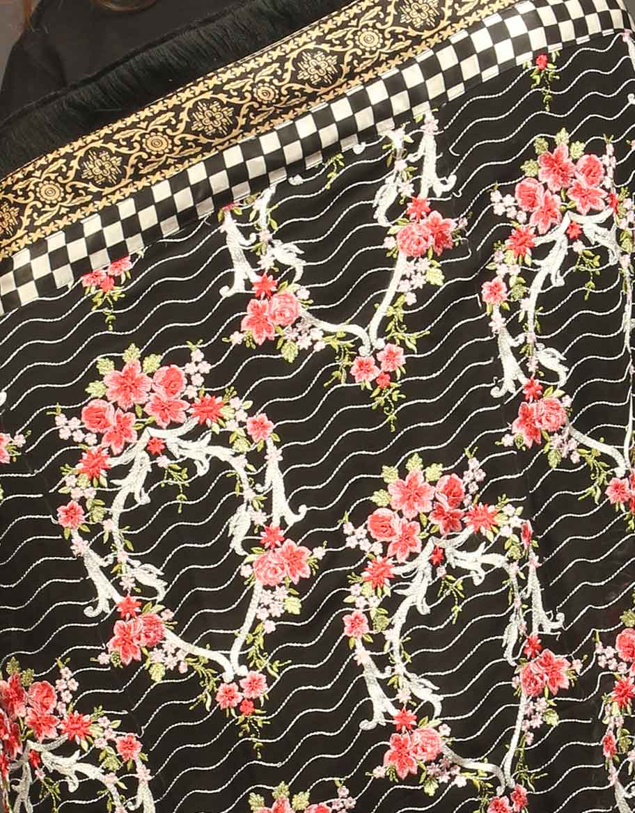Black Fully Embroidered Dupatta