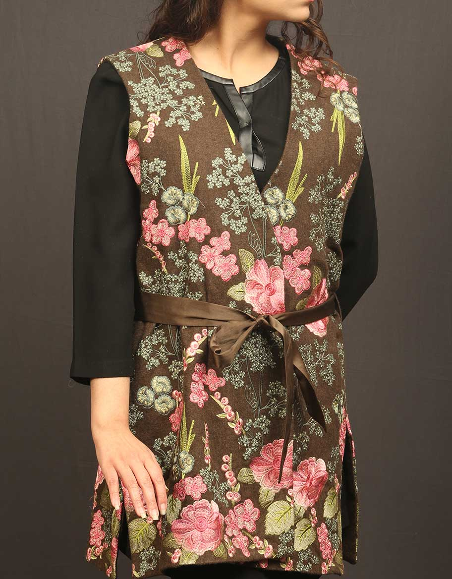 Brown Floral Fully Embroided Jacket