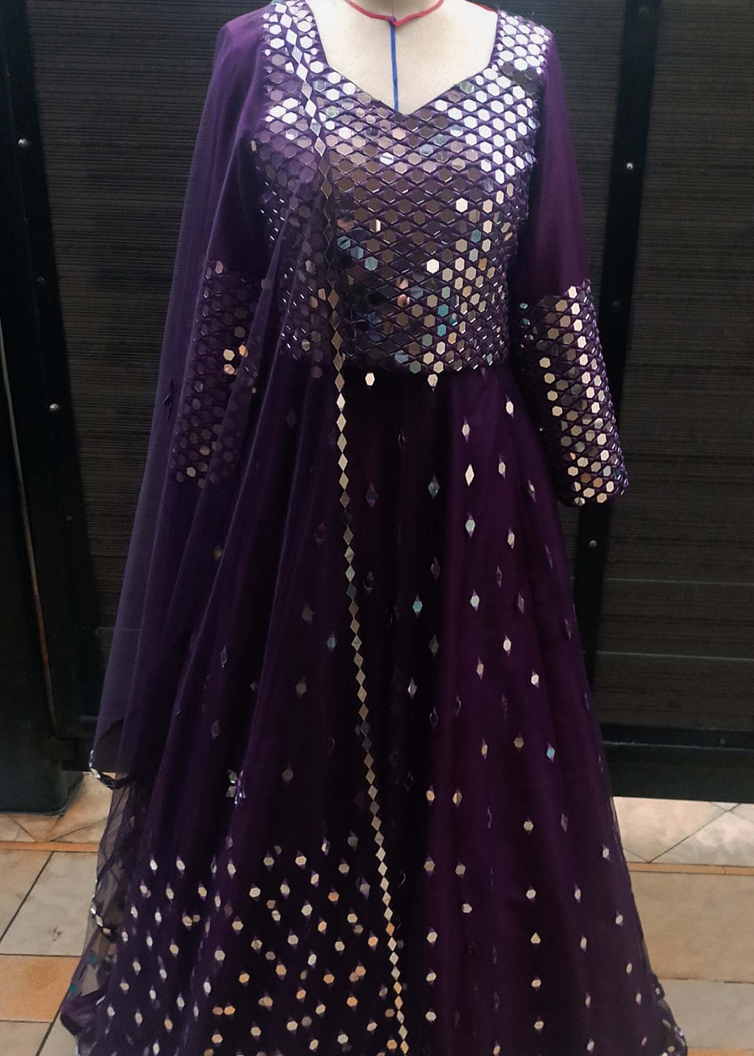 Mirror work lehnga