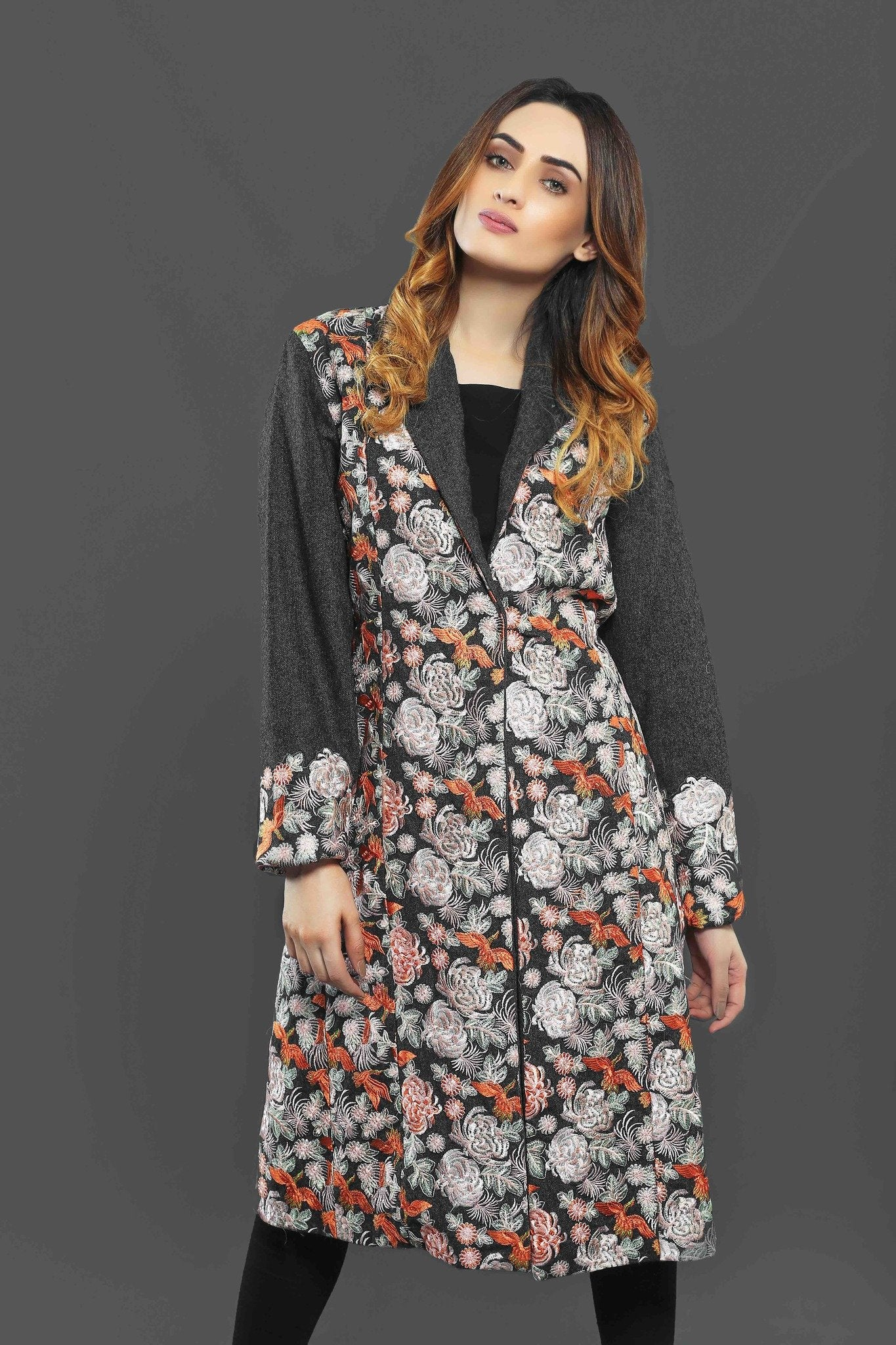 Gray Jacket with Floral Embroidary
