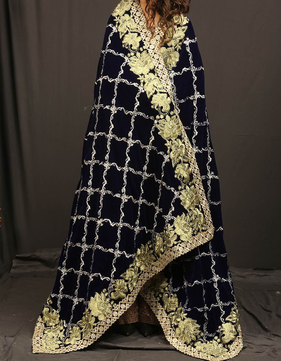 Royal Blue Embroidered Shawl