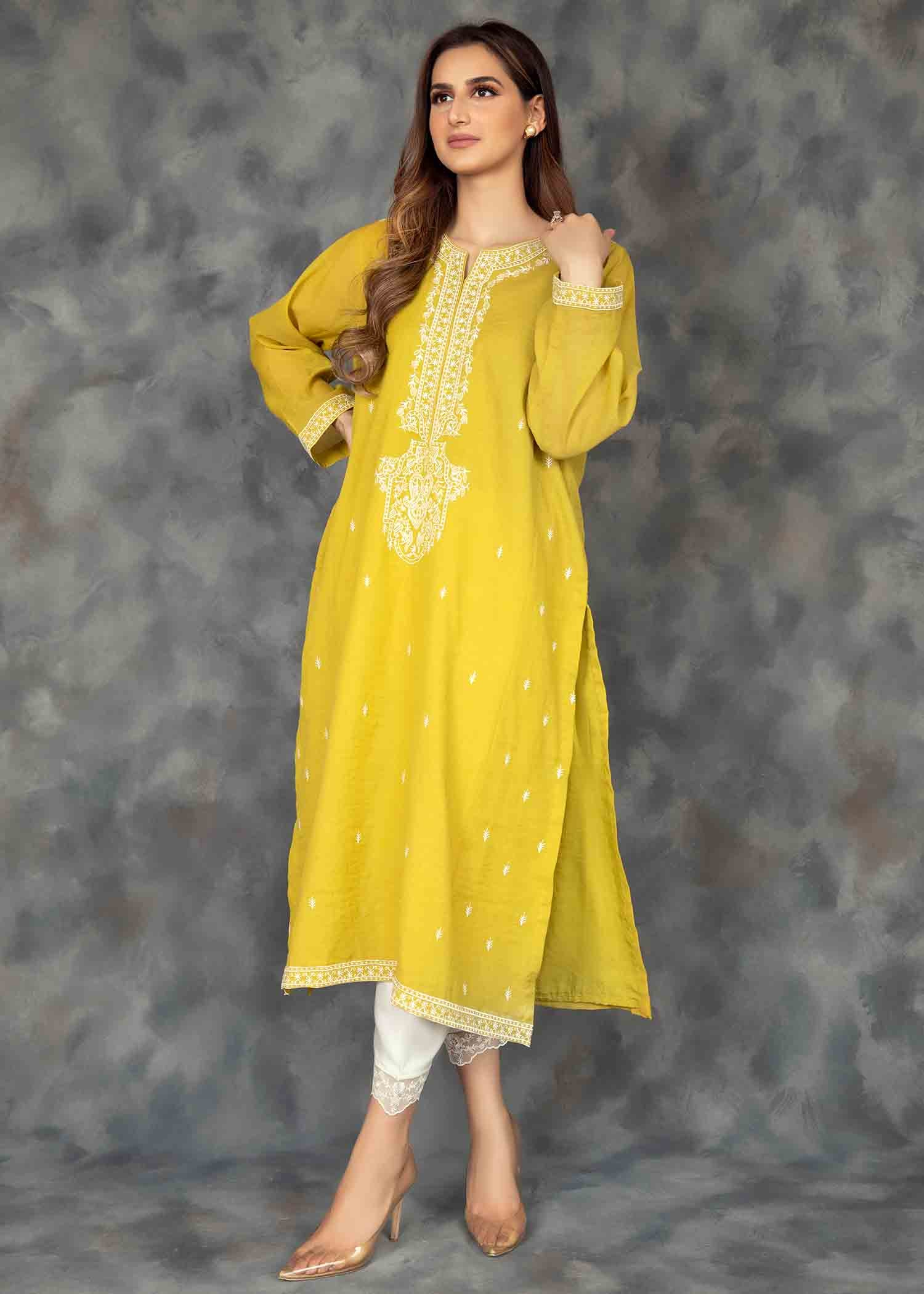 Lemon Yellow Emb kurta