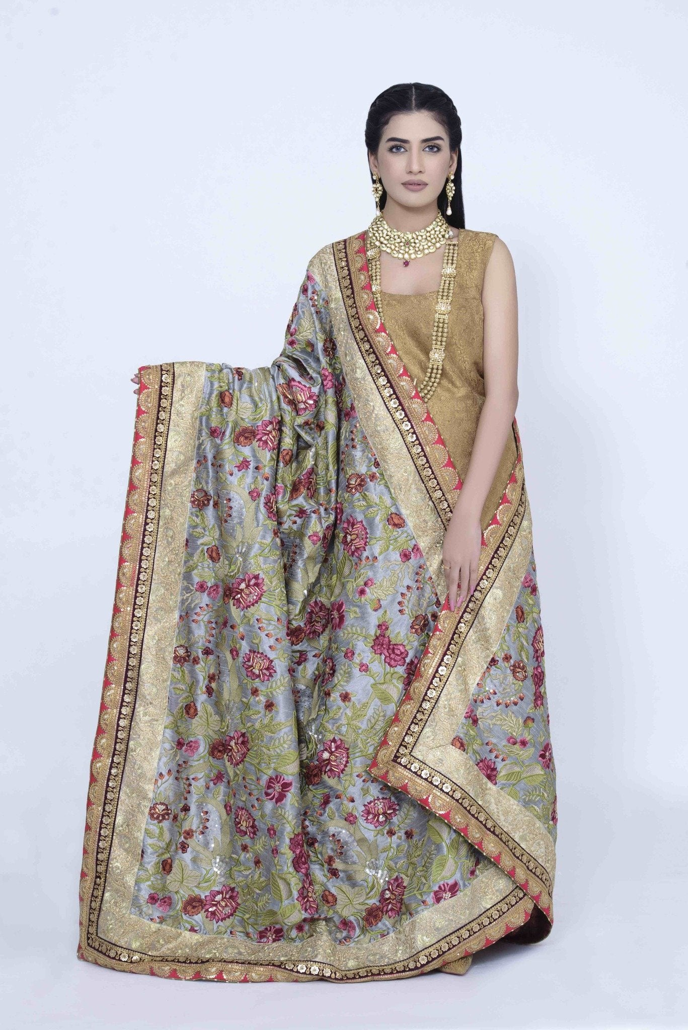 Gray Raw Silk Shawl with Floral Embroidary & Handwork
