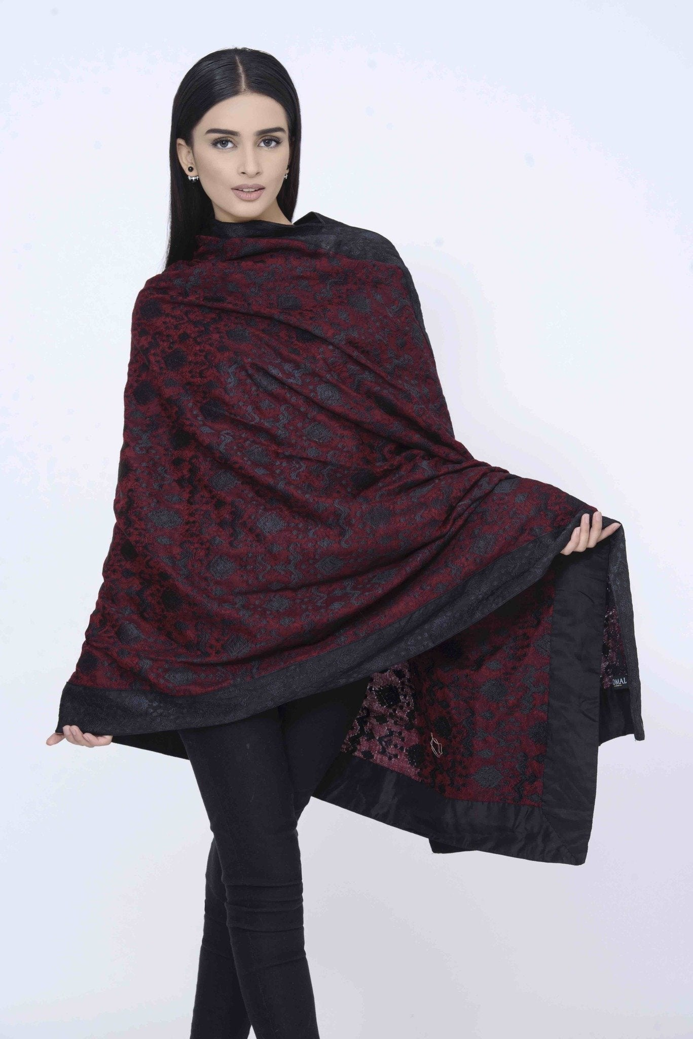 Maroon Pashmina Embroided Shawl with Black Embroided Borders