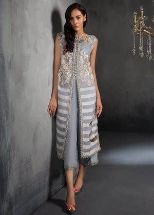 Chalk Blue Pakistani fancy dresses with prices